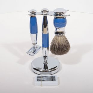 Edwin Jagger DE Safety Razor Brush and stand chrome plated